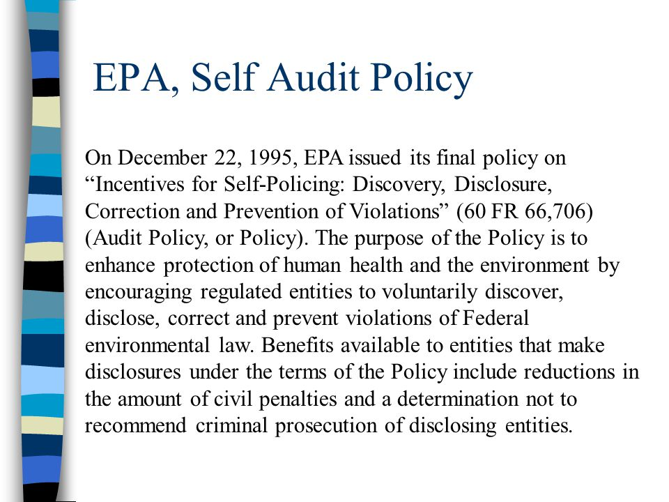 EPA, Self Audit Policy