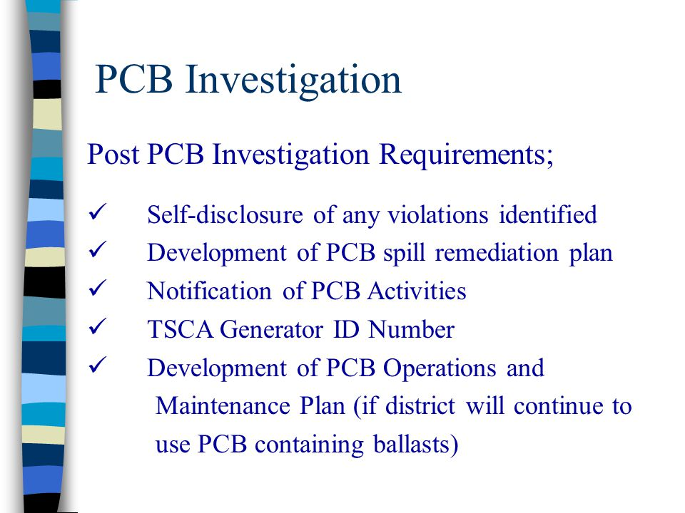 PCB Investigation Post PCB Investigation Requirements;