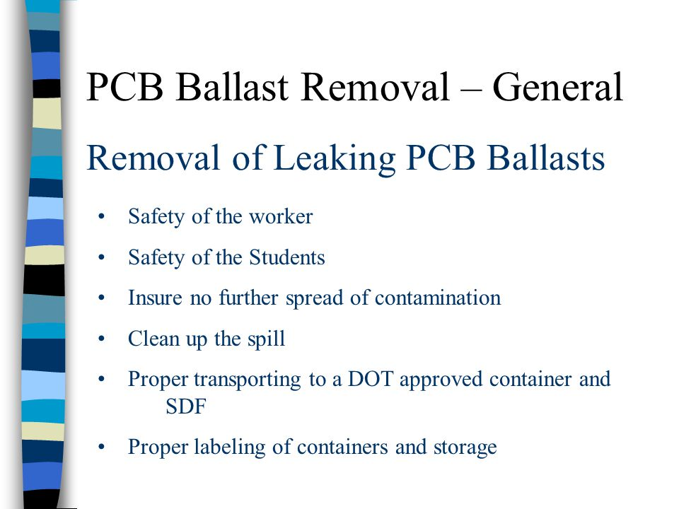 Removal of Leaking PCB Ballasts