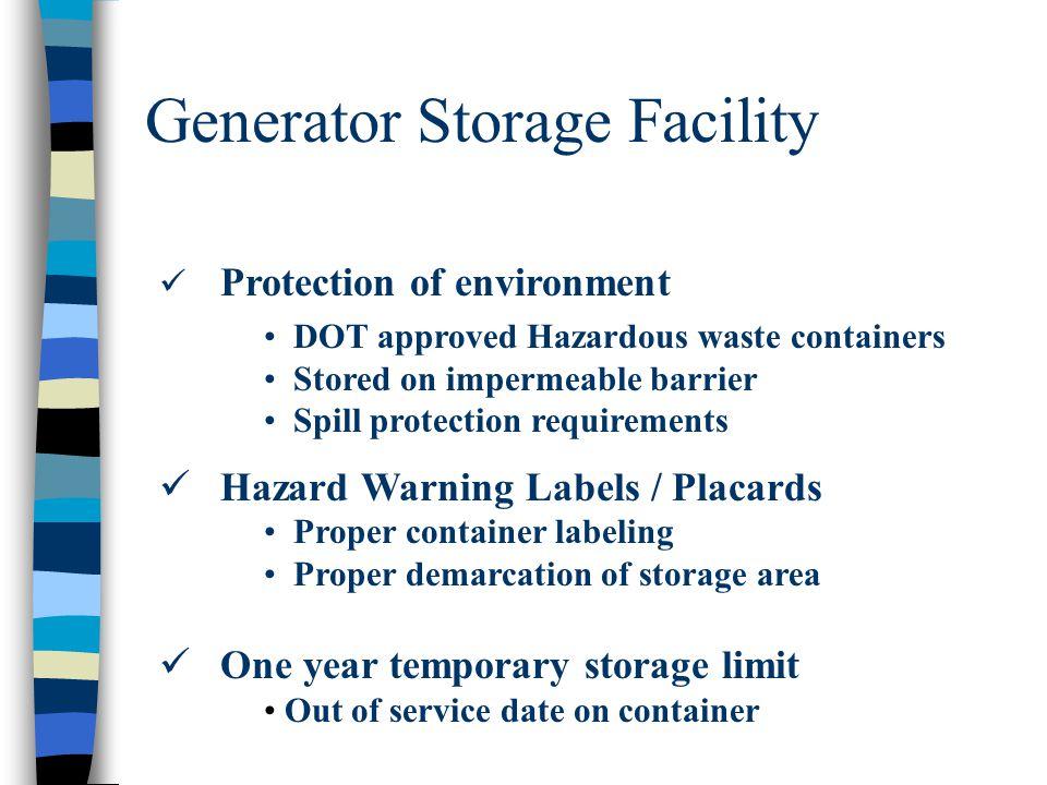 Generator Storage Facility