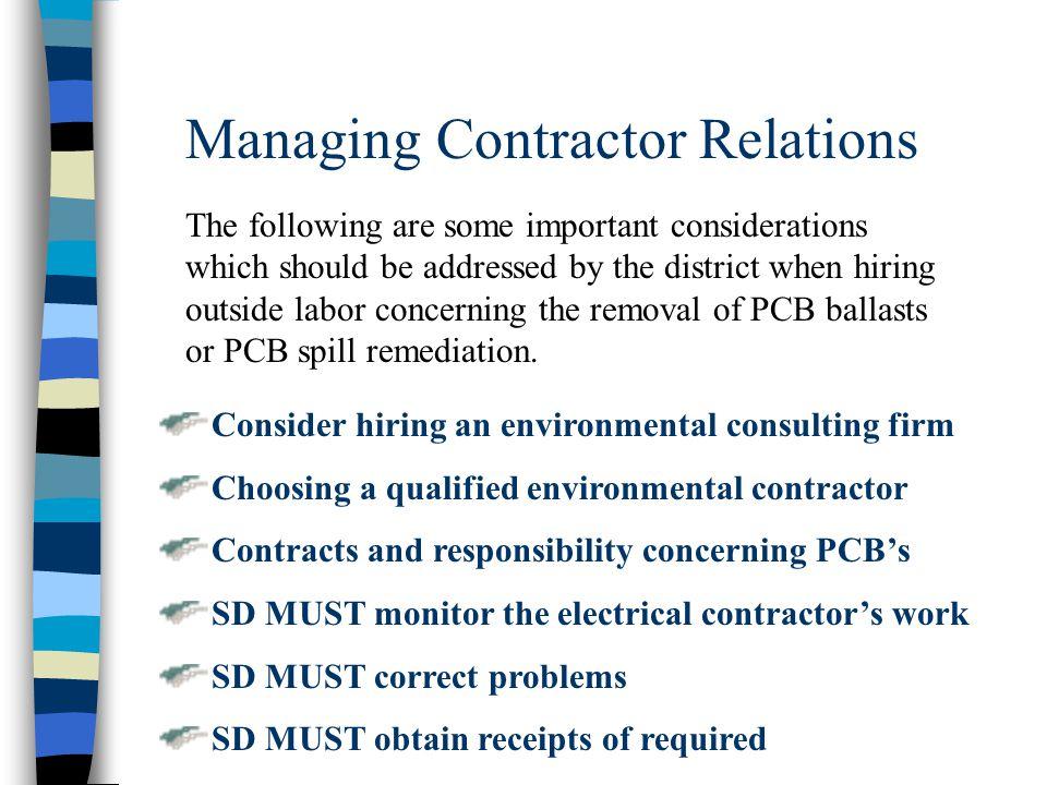 Managing Contractor Relations