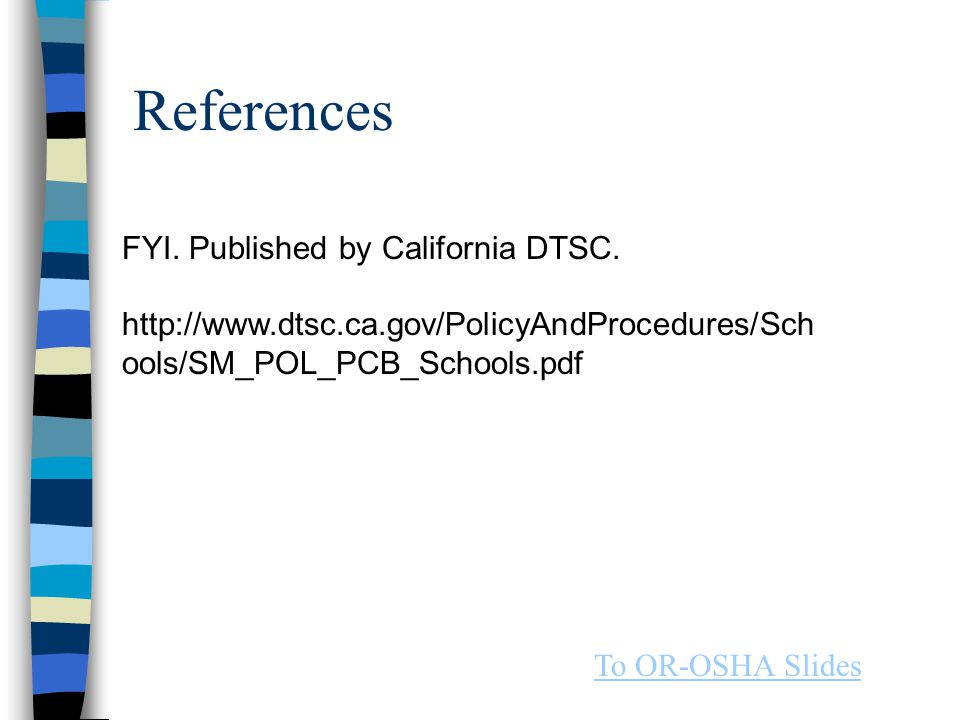 References FYI. Published by California DTSC.