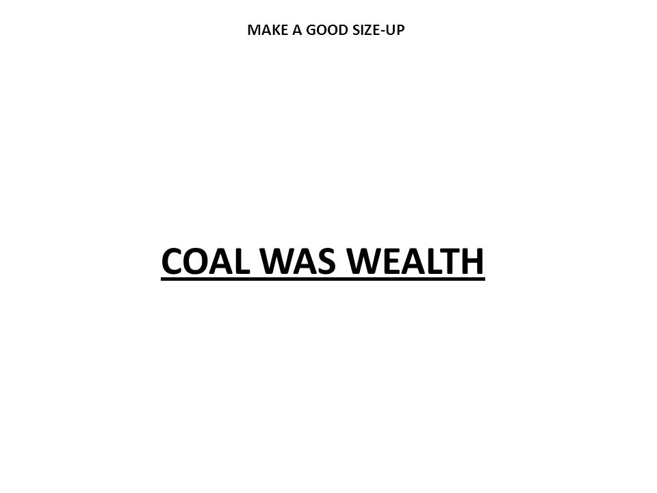 MAKE A GOOD SIZE-UP COAL WAS WEALTH