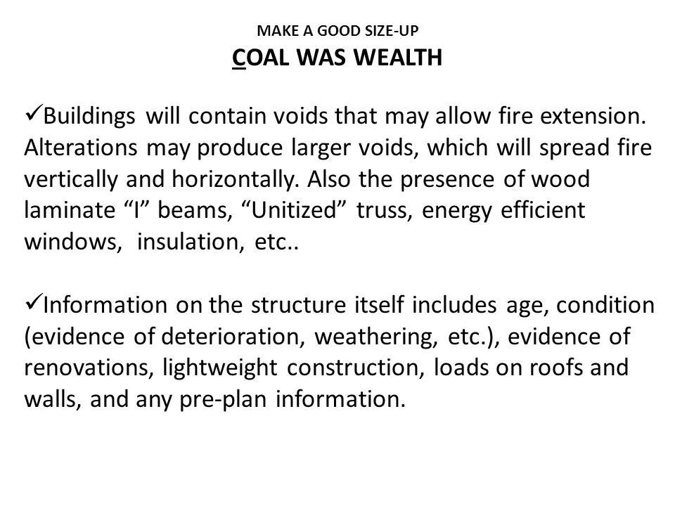 MAKE A GOOD SIZE-UP COAL WAS WEALTH.