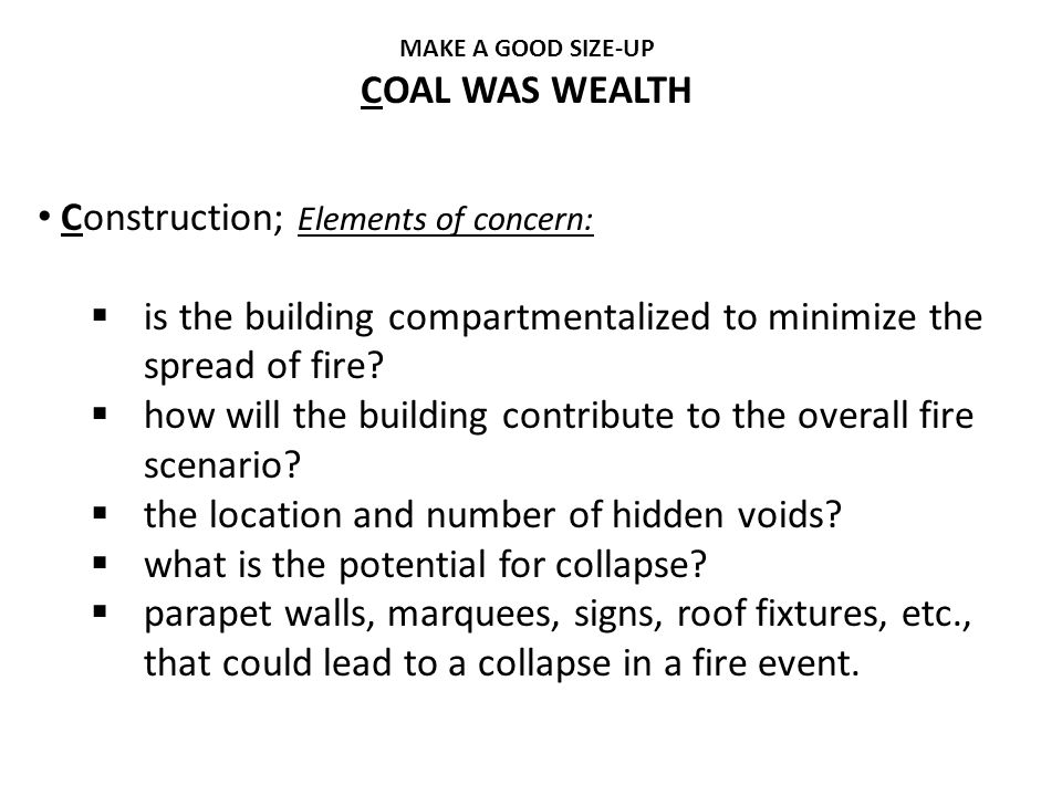 Construction; Elements of concern: