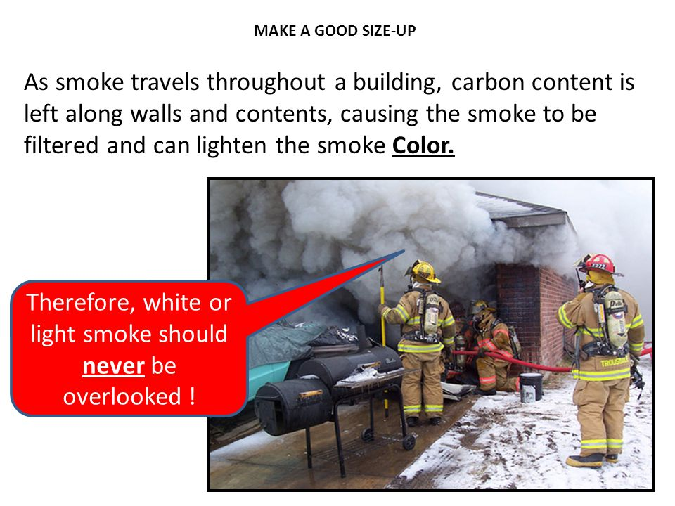 Therefore, white or light smoke should never be overlooked !