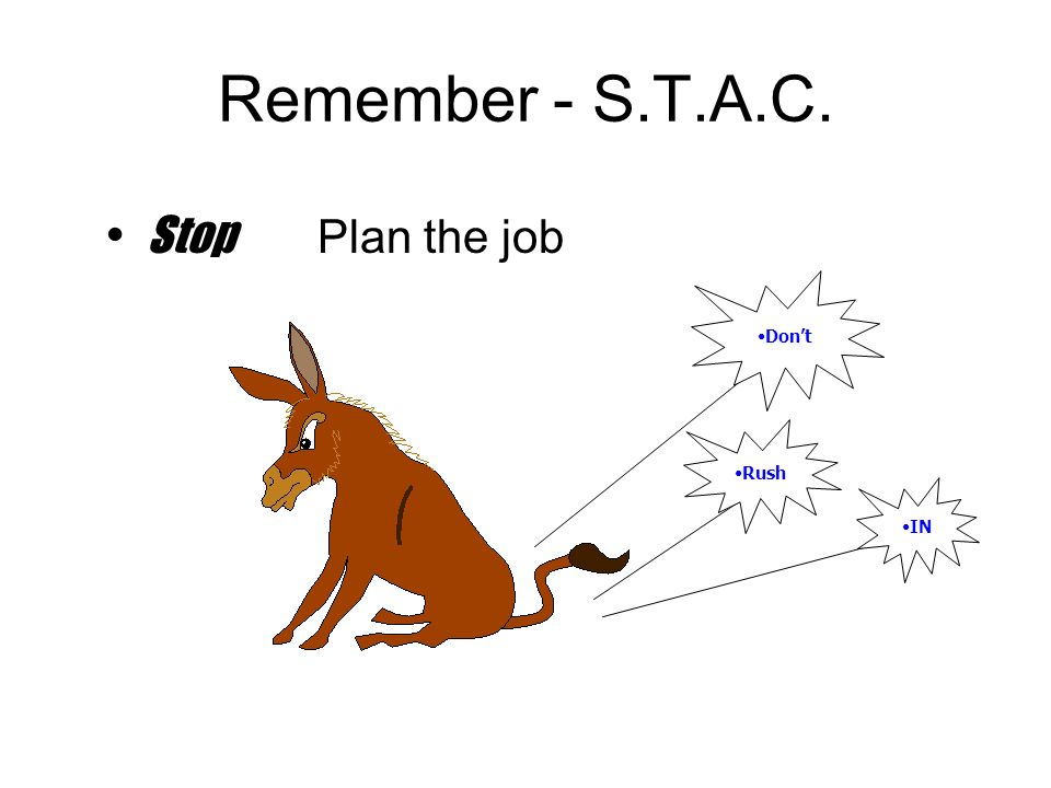 Remember - S.T.A.C. Stop Plan the job Don't Rush IN