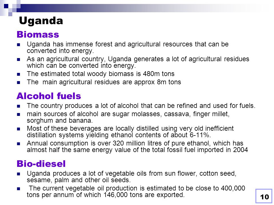 Uganda Biomass Alcohol fuels Bio-diesel