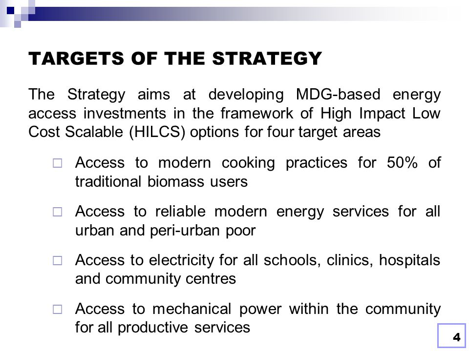 TARGETS OF THE STRATEGY