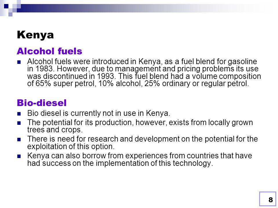 Kenya Alcohol fuels Bio-diesel