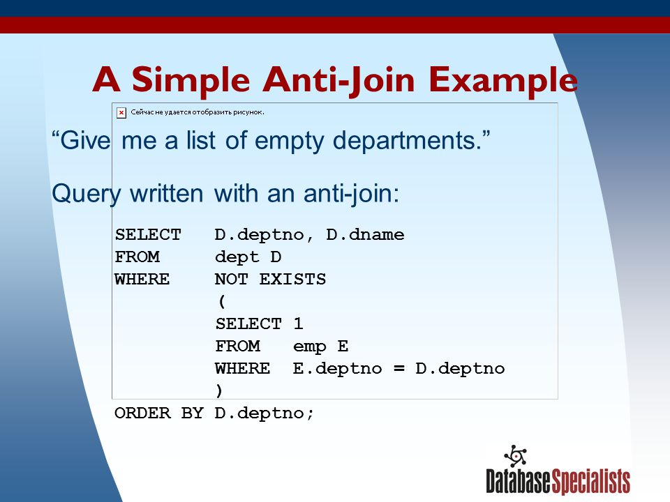 A Simple Anti-Join Example