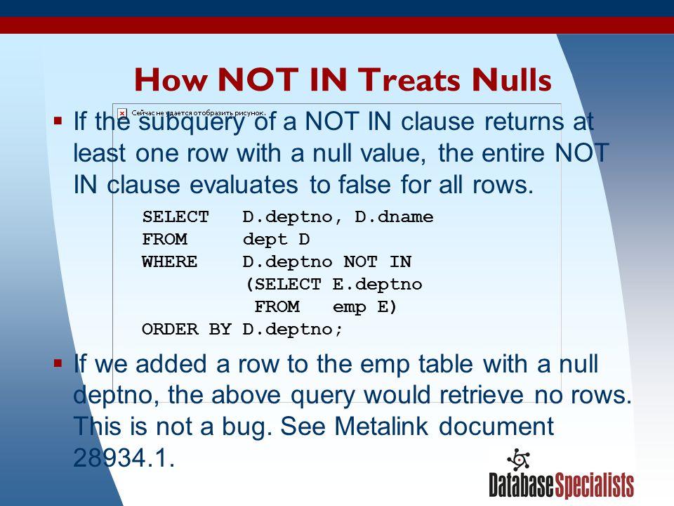 How NOT IN Treats Nulls