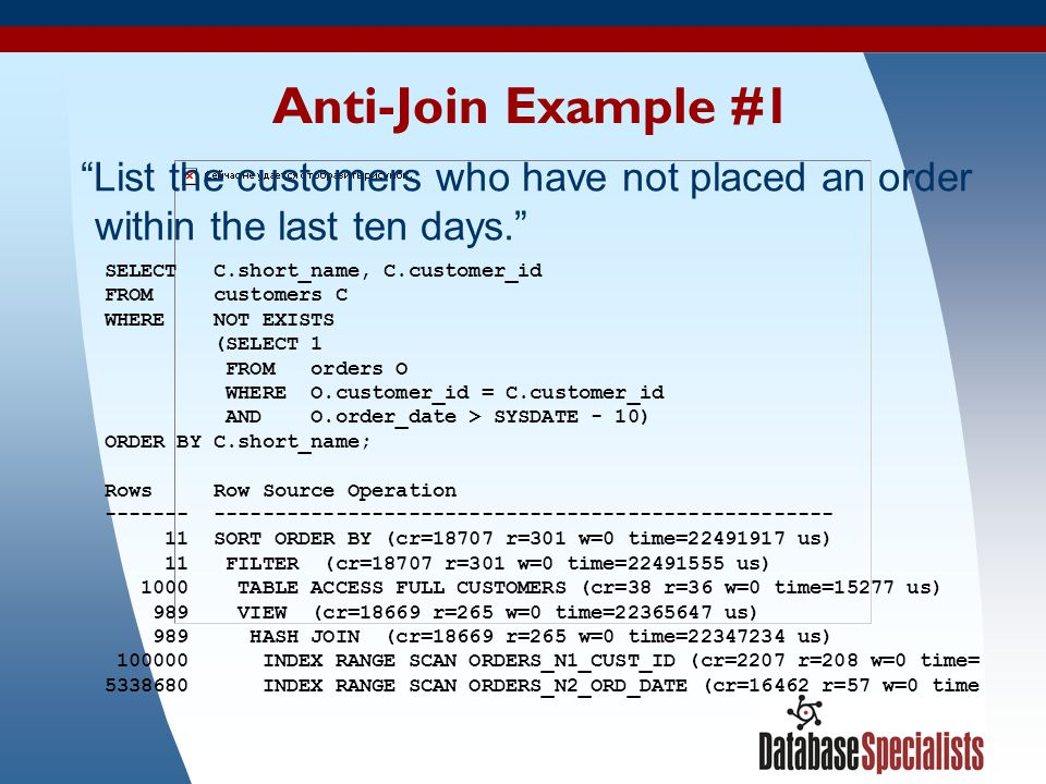 Anti-Join Example #1 List the customers who have not placed an order within the last ten days. SELECT C.short_name, C.customer_id.