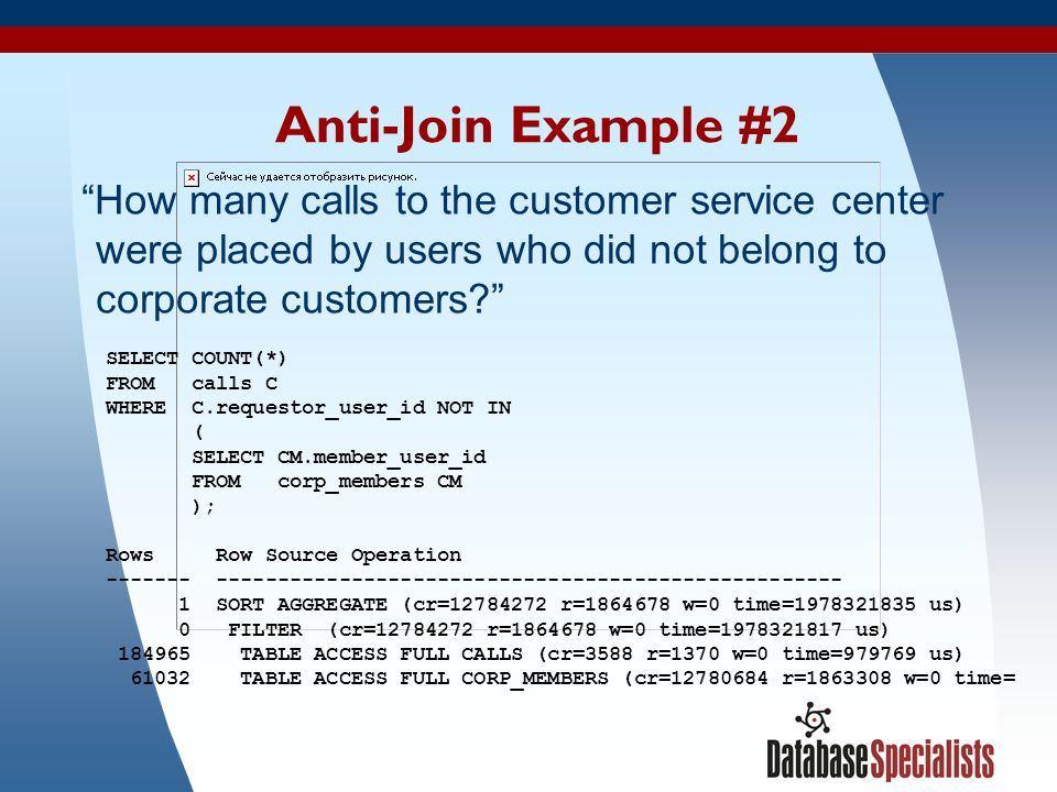 Anti-Join Example #2 How many calls to the customer service center were placed by users who did not belong to corporate customers