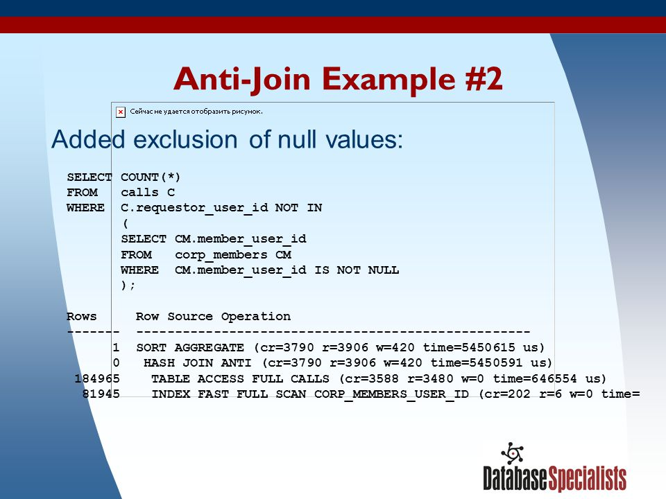 Anti-Join Example #2 Added exclusion of null values: SELECT COUNT(*)