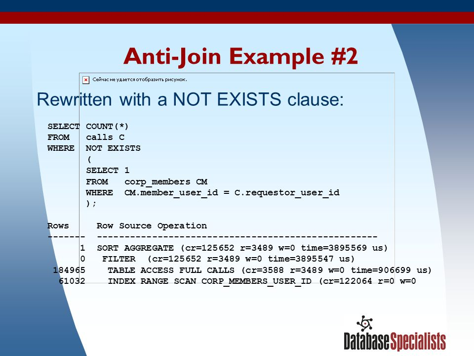 Anti-Join Example #2 Rewritten with a NOT EXISTS clause: