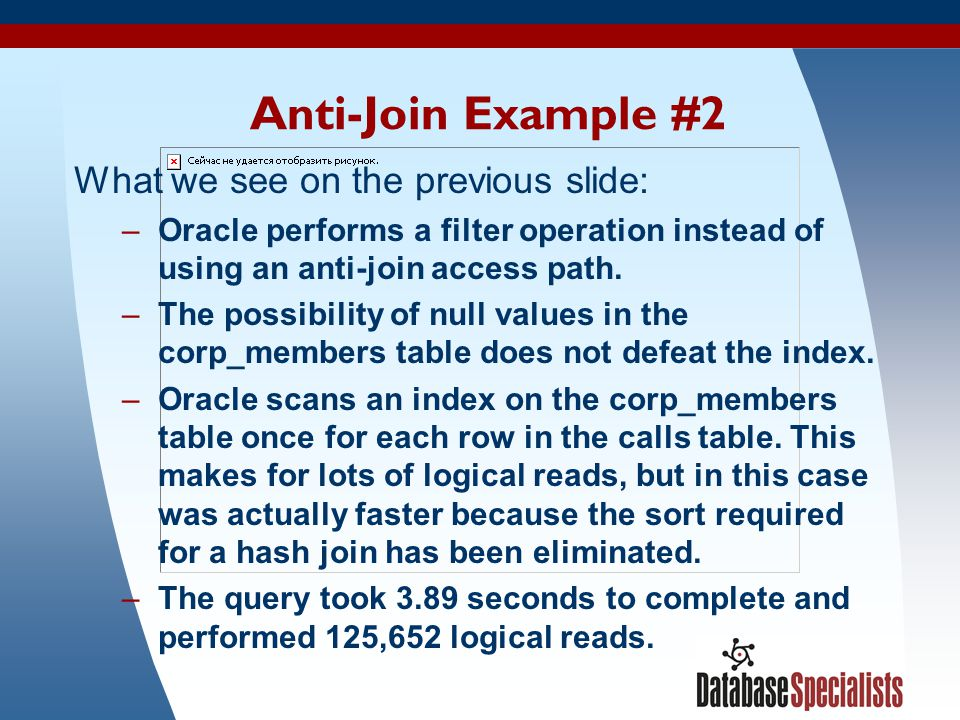 Anti-Join Example #2 What we see on the previous slide: