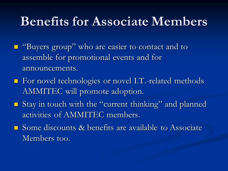 Benefits for Associate Members