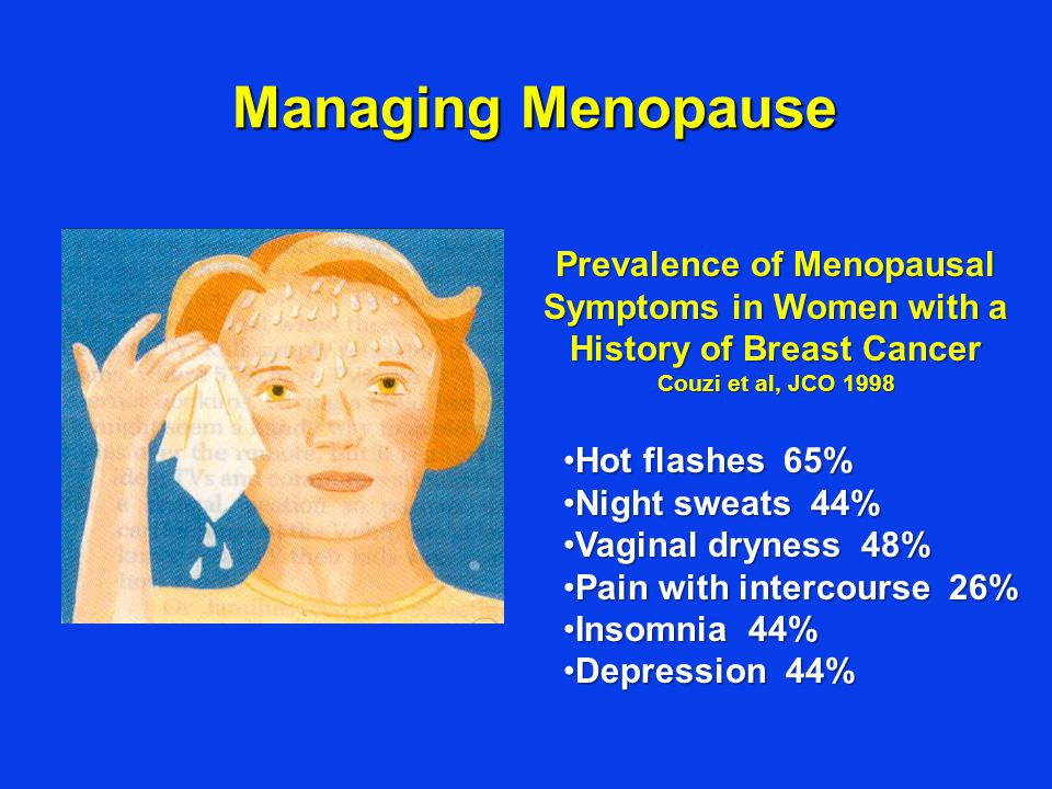 Managing Menopause Prevalence of Menopausal Symptoms in Women with a History of Breast Cancer Couzi et al, JCO 1998.