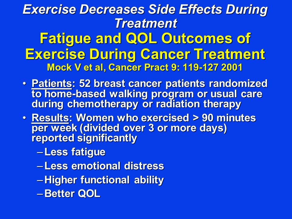 Exercise Decreases Side Effects During Treatment Fatigue and QOL Outcomes of Exercise During Cancer Treatment Mock V et al, Cancer Pract 9: 119-127 2001