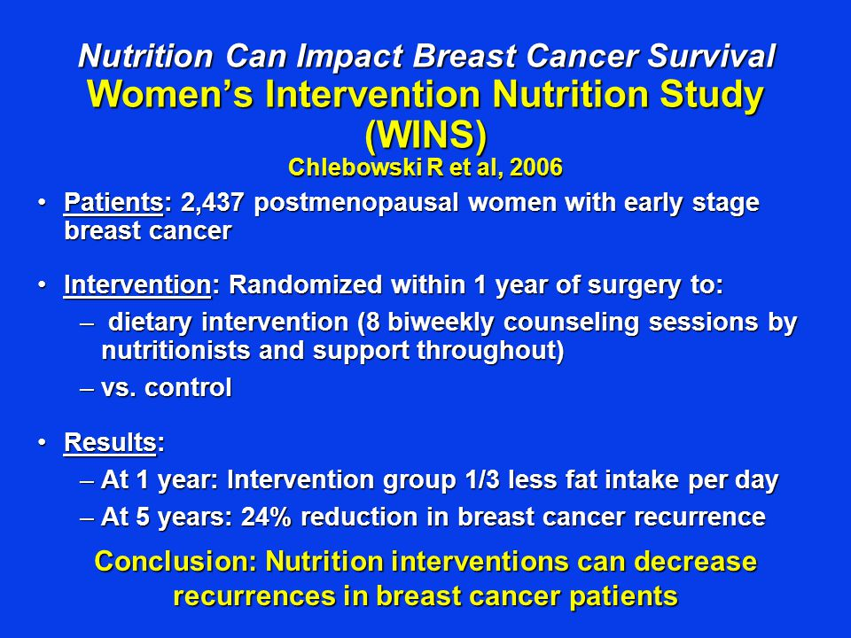 Nutrition Can Impact Breast Cancer Survival Women's Intervention Nutrition Study (WINS) Chlebowski R et al, 2006