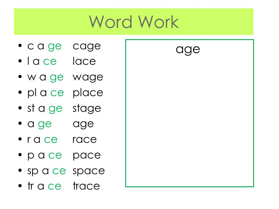 Word Work age c a ge cage l a ce lace w a ge wage pl a ce place