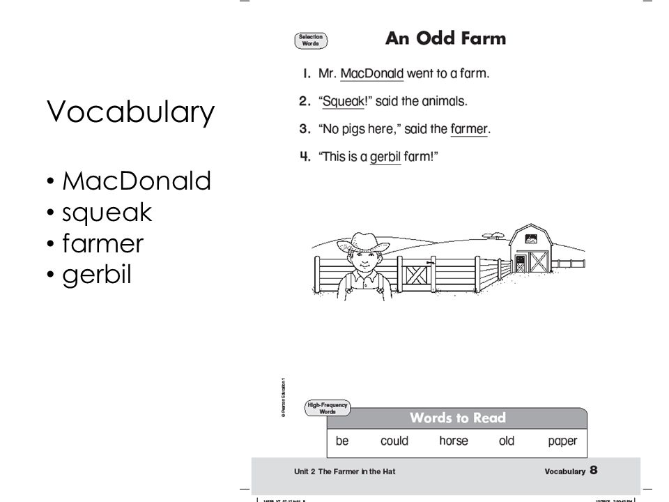 Vocabulary MacDonald squeak farmer gerbil