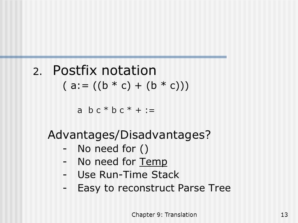 Postfix notation Advantages/Disadvantages ( a:= ((b * c) + (b * c)))