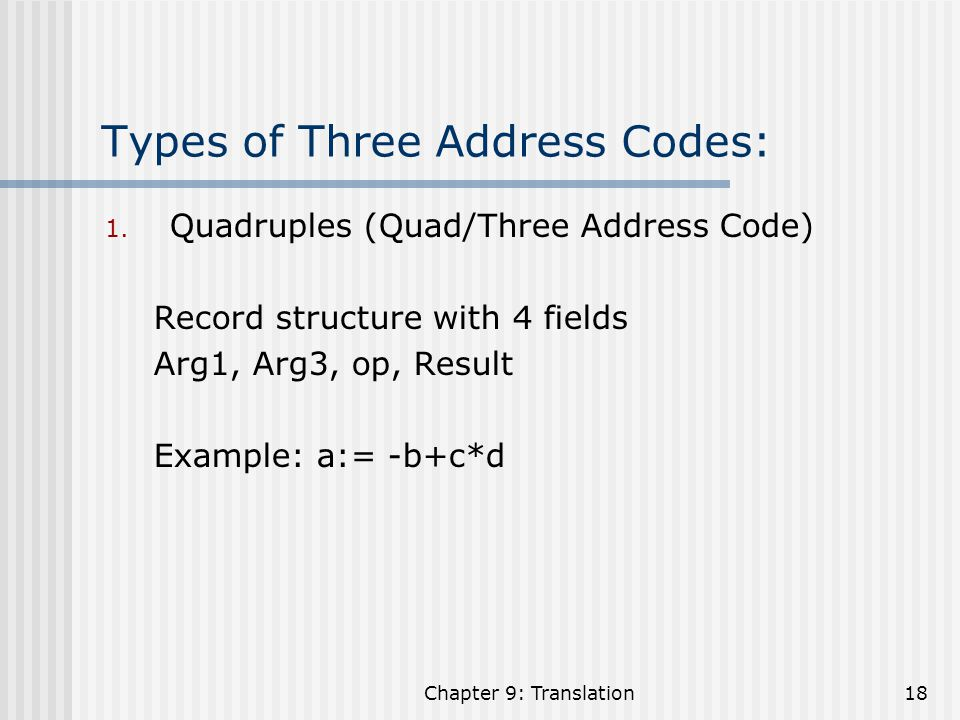 Types of Three Address Codes: