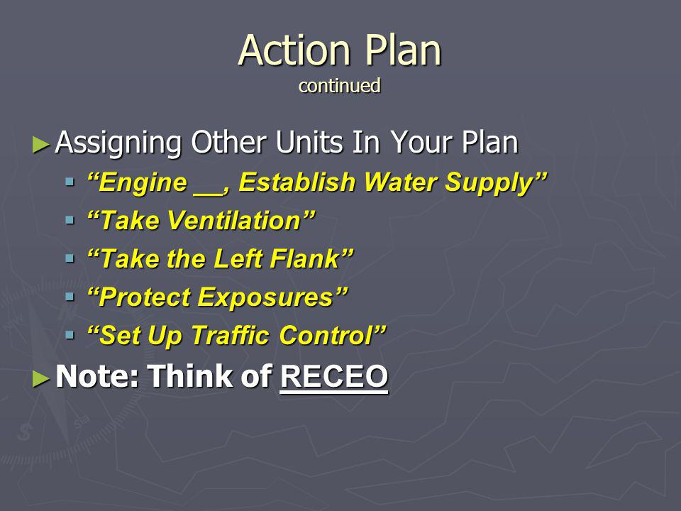 Action Plan continued Assigning Other Units In Your Plan