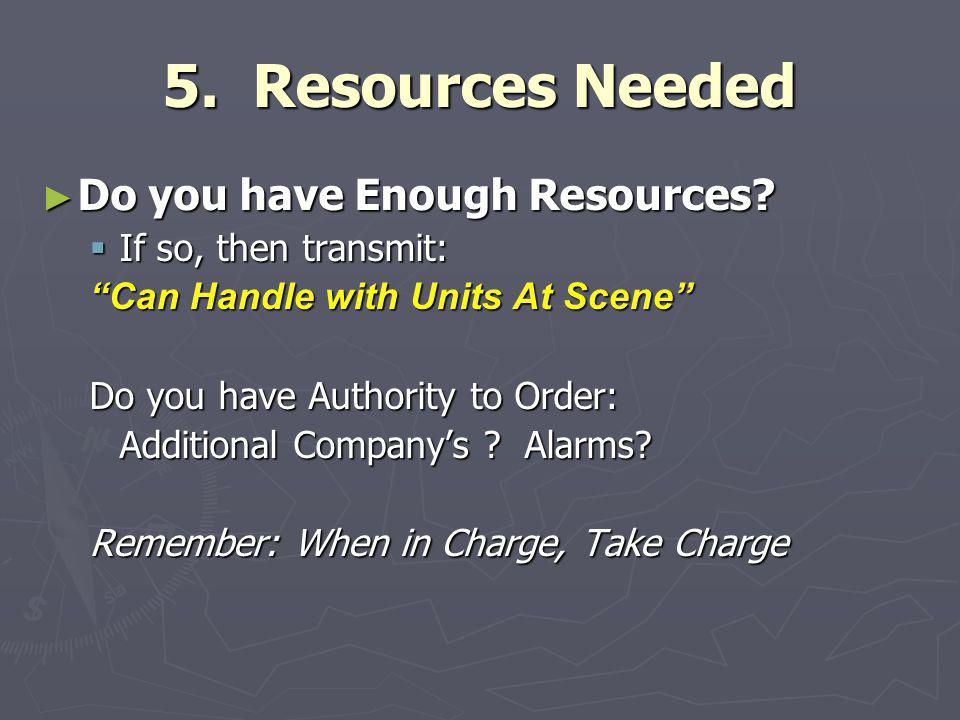 5. Resources Needed Do you have Enough Resources