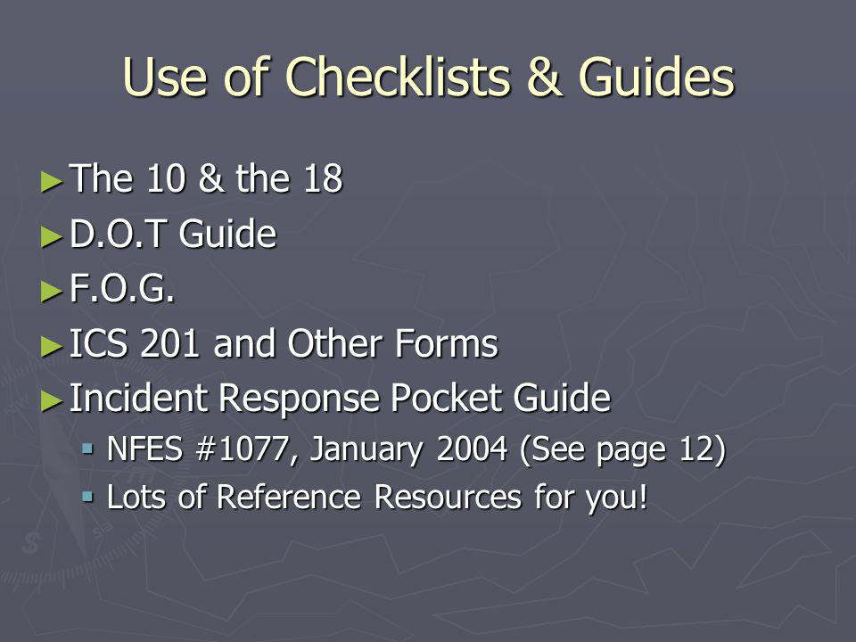 Use of Checklists & Guides