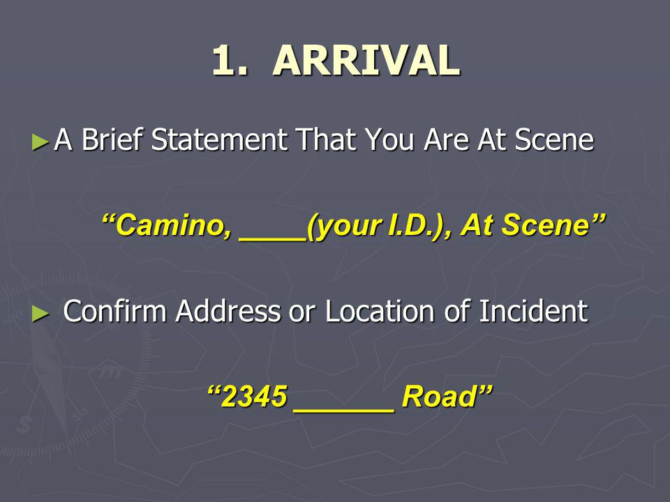 Camino, ____(your I.D.), At Scene