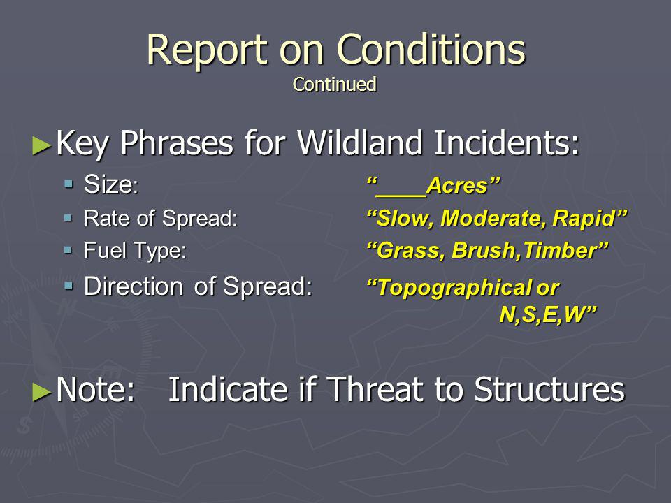 Report on Conditions Continued