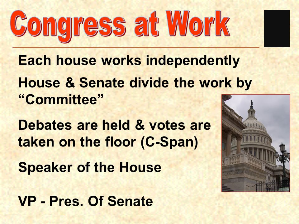Congress at Work Each house works independently