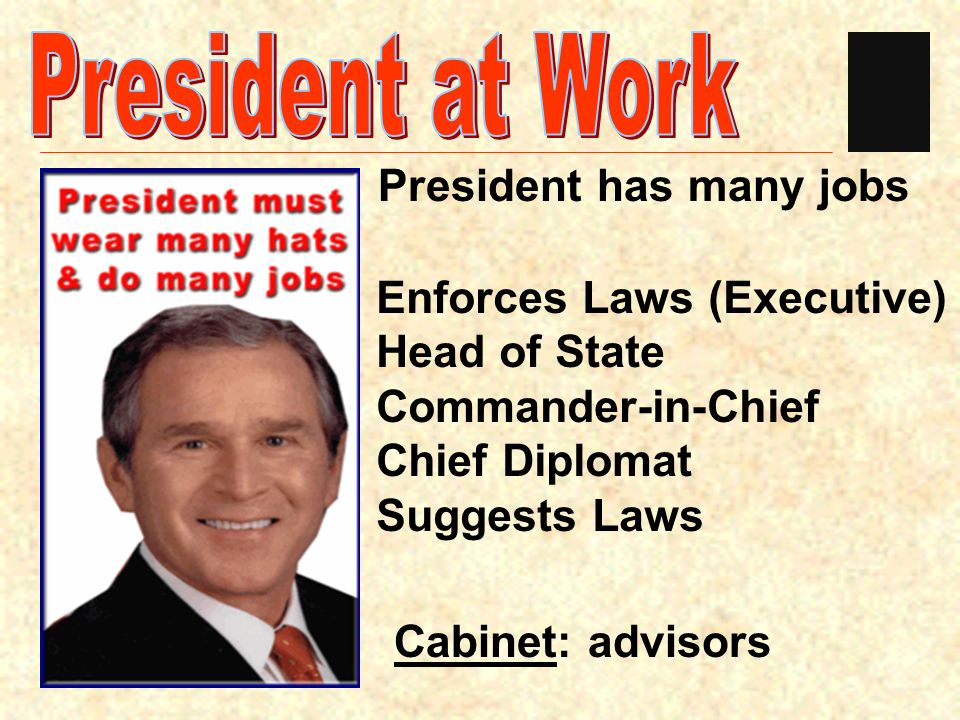 President at Work President has many jobs Enforces Laws (Executive)