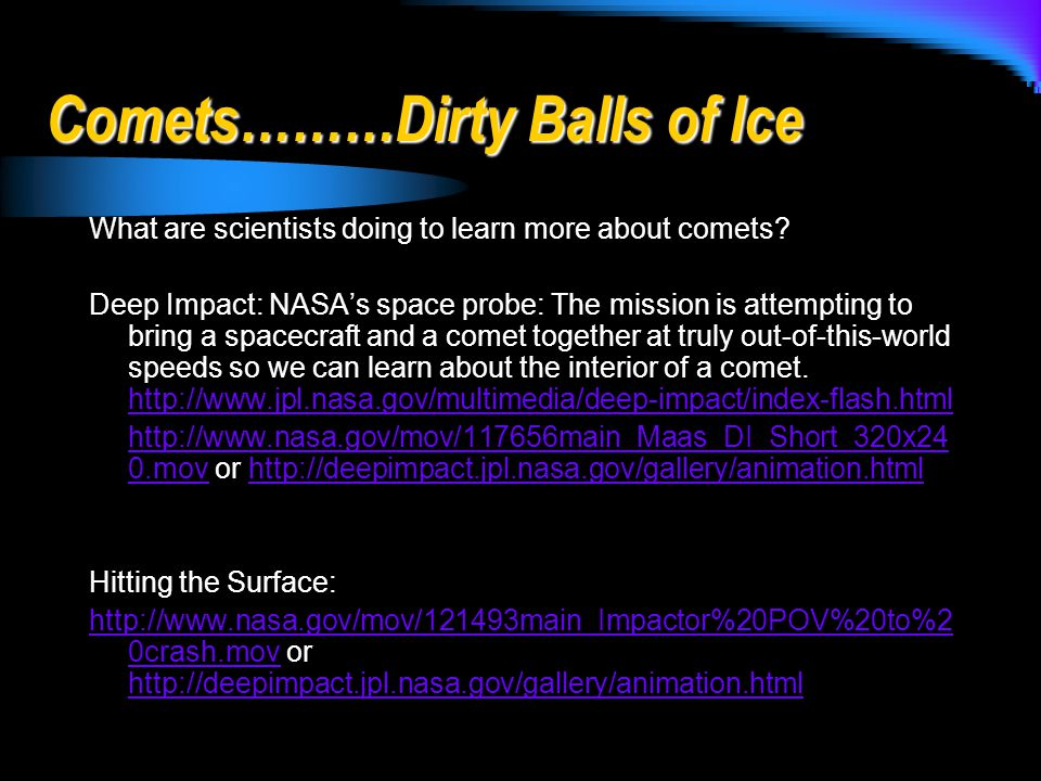 Comets………Dirty Balls of Ice
