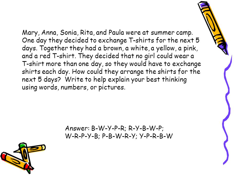 Mary, Anna, Sonia, Rita, and Paula were at summer camp