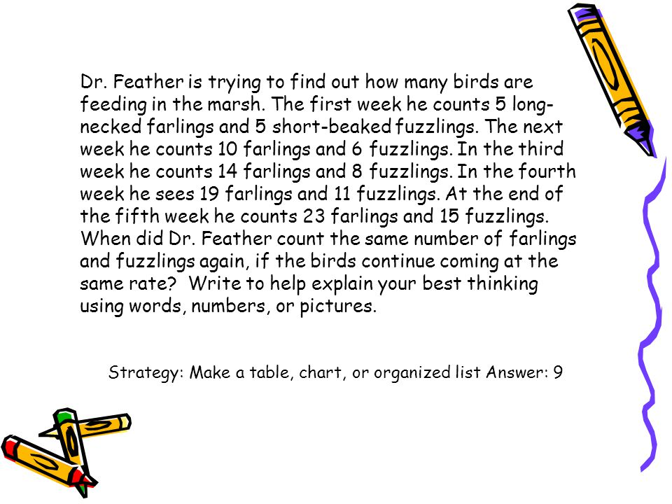 Dr. Feather is trying to find out how many birds are feeding in the marsh. The first week he counts 5 long-necked farlings and 5 short-beaked fuzzlings. The next week he counts 10 farlings and 6 fuzzlings. In the third week he counts 14 farlings and 8 fuzzlings. In the fourth week he sees 19 farlings and 11 fuzzlings. At the end of the fifth week he counts 23 farlings and 15 fuzzlings. When did Dr. Feather count the same number of farlings and fuzzlings again, if the birds continue coming at the same rate Write to help explain your best thinking using words, numbers, or pictures.