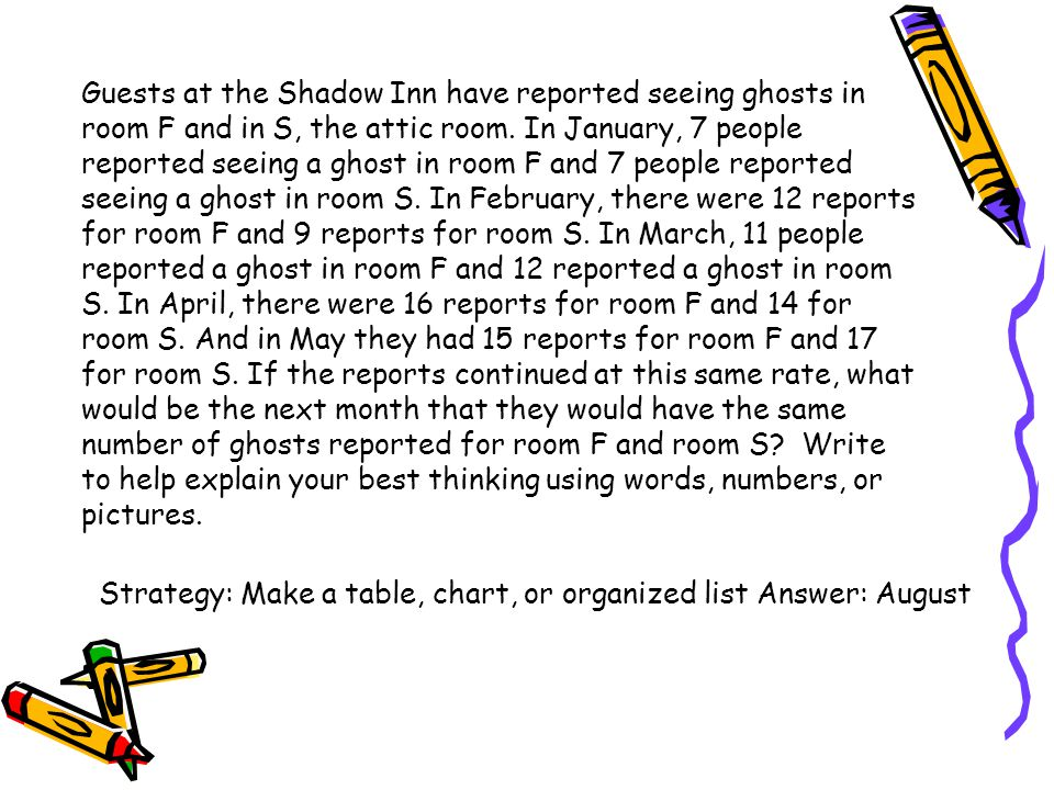 Guests at the Shadow Inn have reported seeing ghosts in room F and in S, the attic room. In January, 7 people reported seeing a ghost in room F and 7 people reported seeing a ghost in room S. In February, there were 12 reports for room F and 9 reports for room S. In March, 11 people reported a ghost in room F and 12 reported a ghost in room S. In April, there were 16 reports for room F and 14 for room S. And in May they had 15 reports for room F and 17 for room S. If the reports continued at this same rate, what would be the next month that they would have the same number of ghosts reported for room F and room S Write to help explain your best thinking using words, numbers, or pictures.