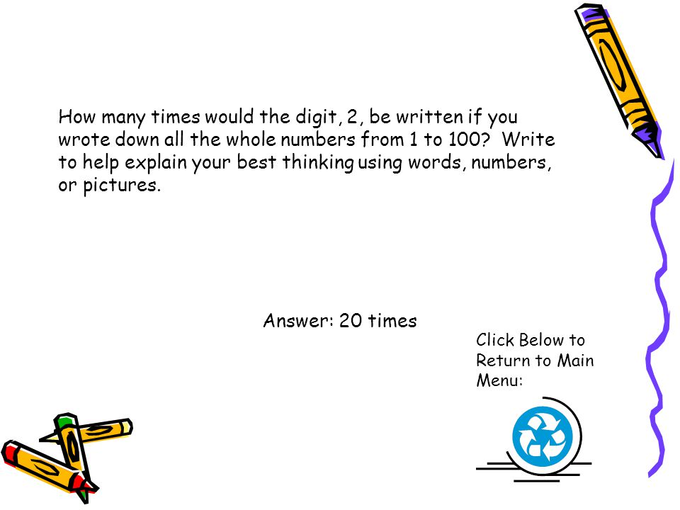 How many times would the digit, 2, be written if you wrote down all the whole numbers from 1 to 100 Write to help explain your best thinking using words, numbers, or pictures.