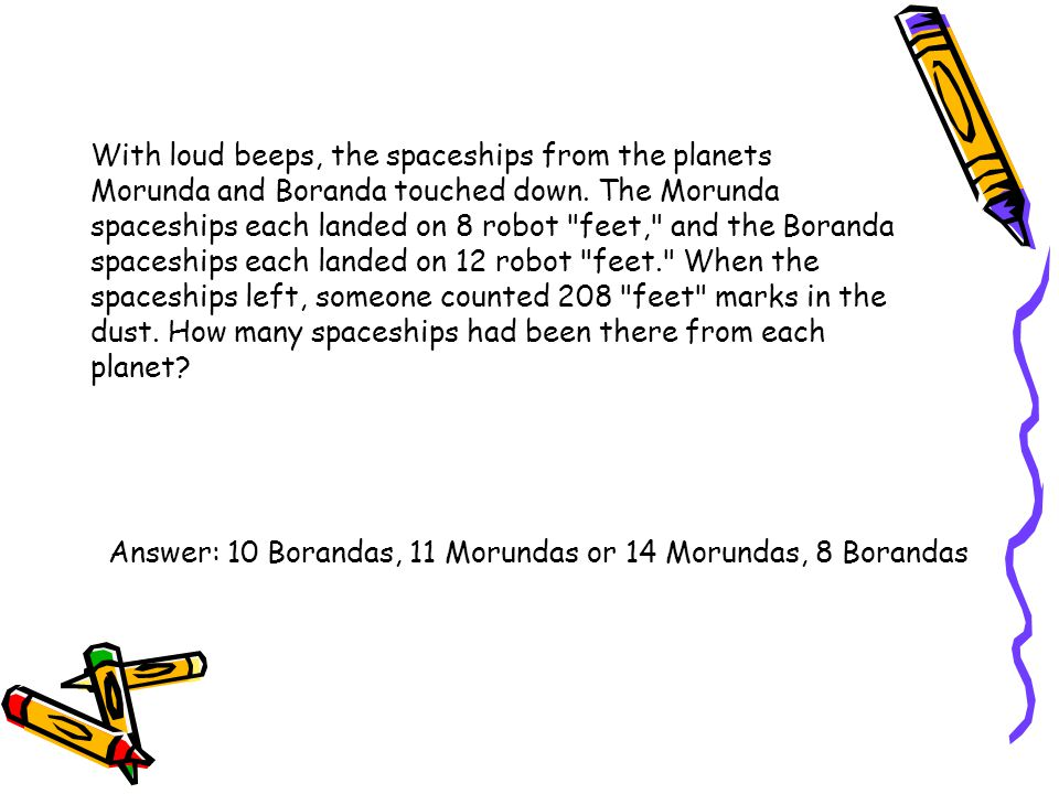 With loud beeps, the spaceships from the planets Morunda and Boranda touched down. The Morunda spaceships each landed on 8 robot feet, and the Boranda spaceships each landed on 12 robot feet. When the spaceships left, someone counted 208 feet marks in the dust. How many spaceships had been there from each planet