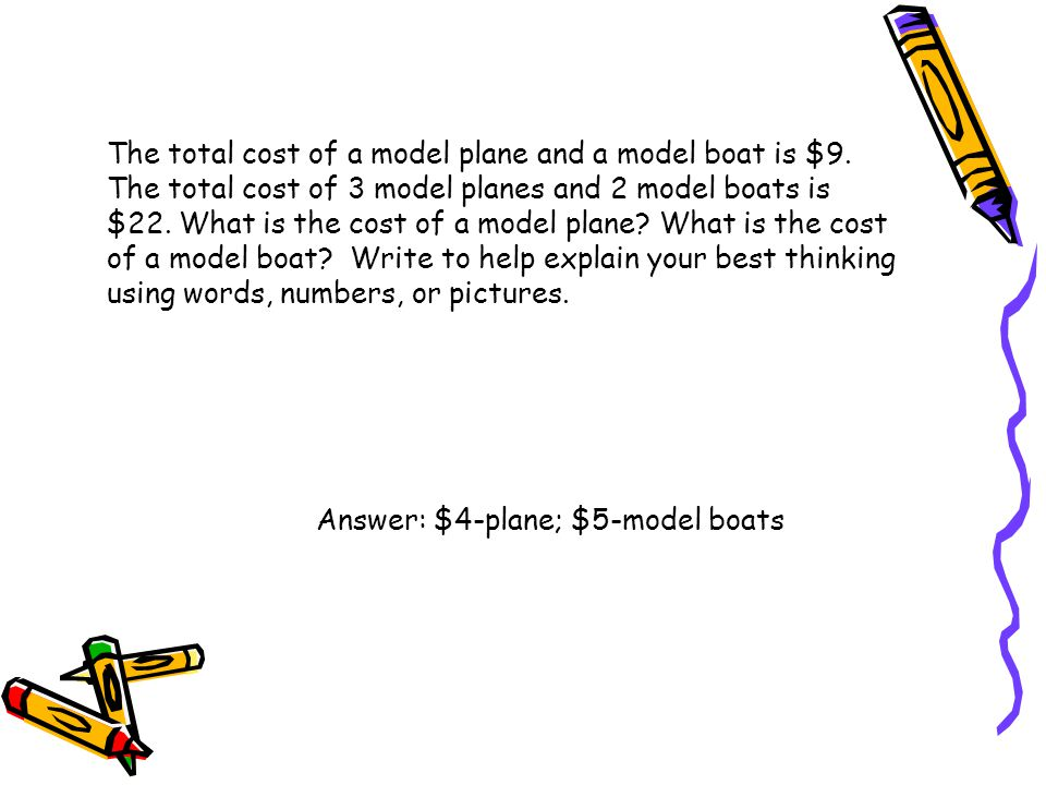 The total cost of a model plane and a model boat is $9