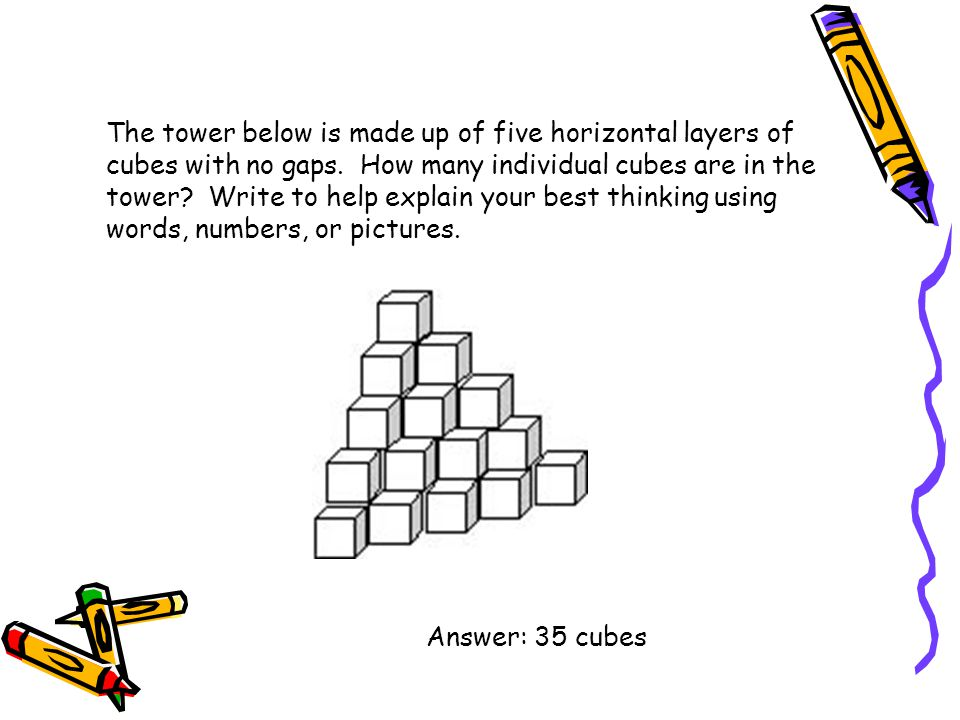 The tower below is made up of five horizontal layers of cubes with no gaps. How many individual cubes are in the tower Write to help explain your best thinking using words, numbers, or pictures.