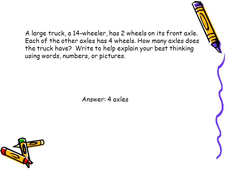 A large truck, a 14-wheeler, has 2 wheels on its front axle