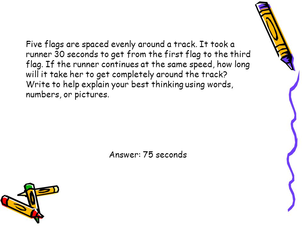 Five flags are spaced evenly around a track