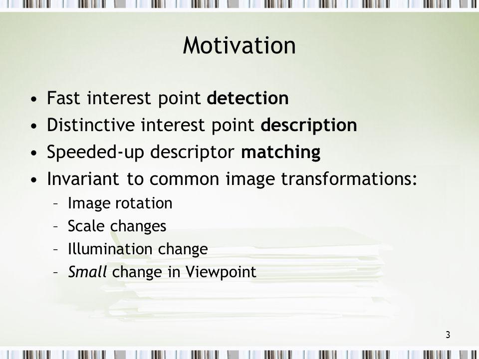 Motivation Fast interest point detection
