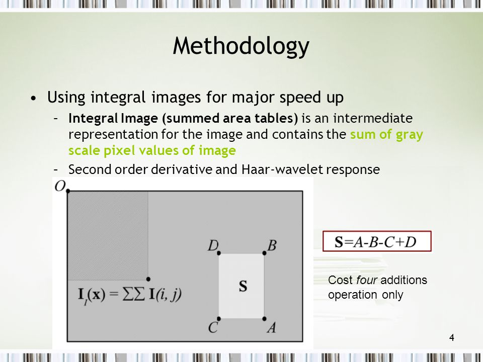 Methodology Using integral images for major speed up