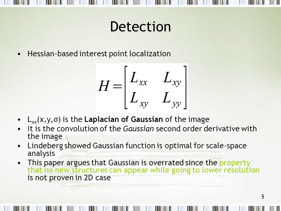 Detection Hessian-based interest point localization