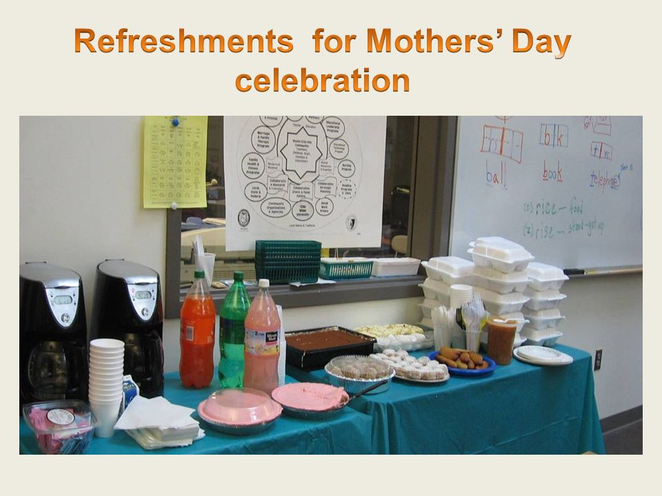 Refreshments for Mothers' Day celebration